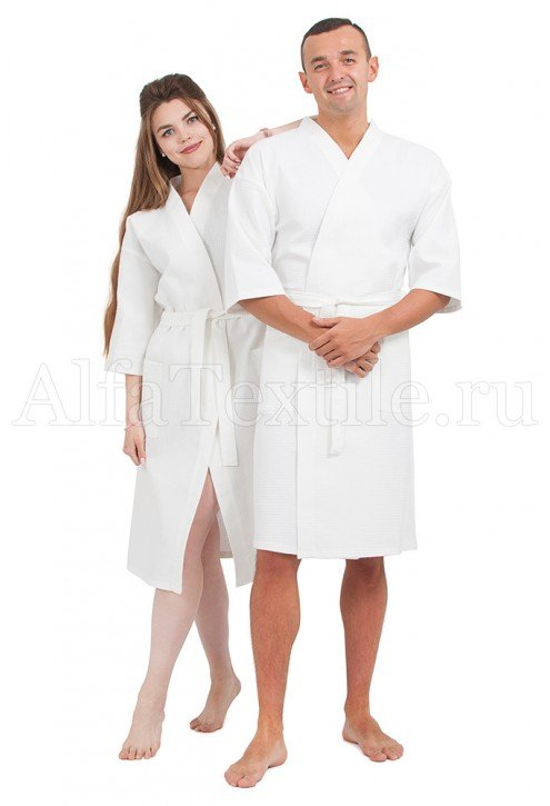 Халат вафельный белый унисекс 220гр/м