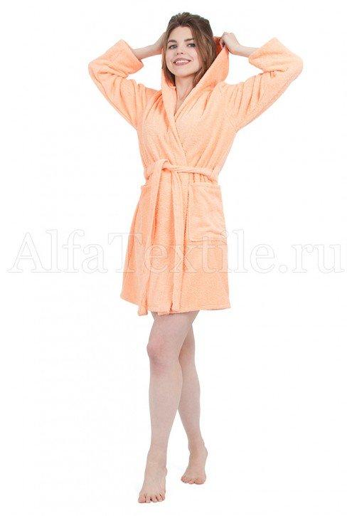 Халат махровый женский с капюшоном ПЕРСИК