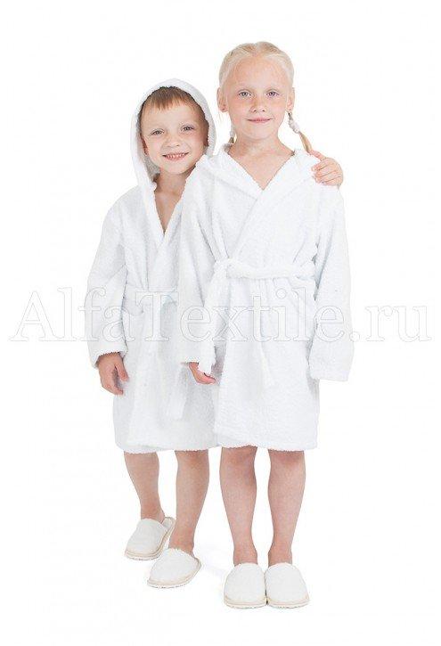 Халат махровый детский капюшон Белый 34-40