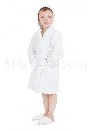 Халат махровый детский капюшон Белый 26-32