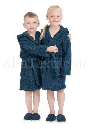 Халат махровый детский капюшон Темно-синий 26-32