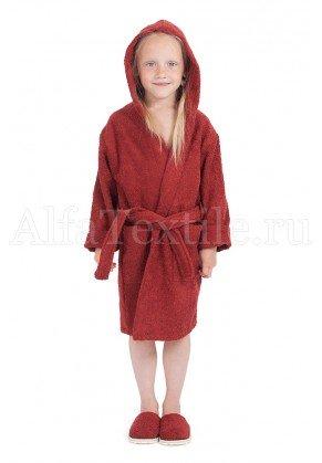 Халат махровый детский капюшон Бордо 26-32