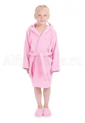 Халат махровый детский капюшон Розовый 26-32