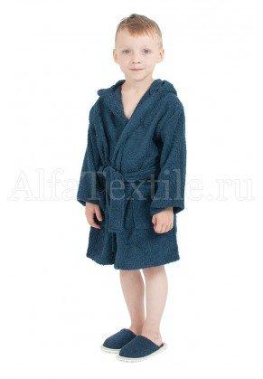 Халат махровый детский капюшон Темно-синий 34-40