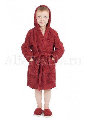 Халат махровый детский капюшон Бордо 34-40