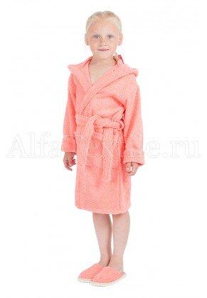Халат махровый детский капюшон Коралл 34-40