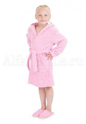 Халат махровый детский капюшон Розовый 34-40