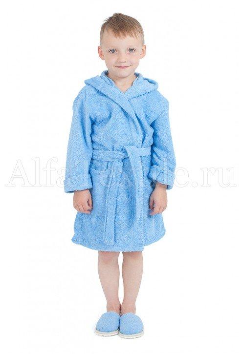 Халат махровый детский капюшон Голубой 34-40