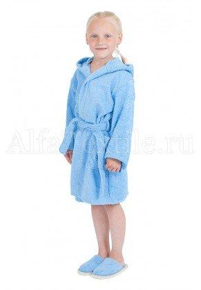 Халат махровый детский капюшон Голубой 26-32