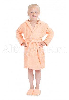 Халат махровый детский капюшон Персик 26-32