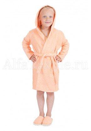 Халат махровый детский капюшон Персик 34-40