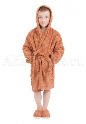 Халат махровый детский капюшон Орех 26-32