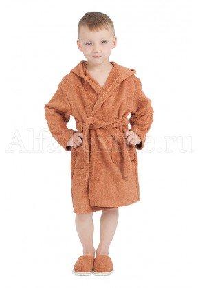 Халат махровый детский капюшон Орех 34-40
