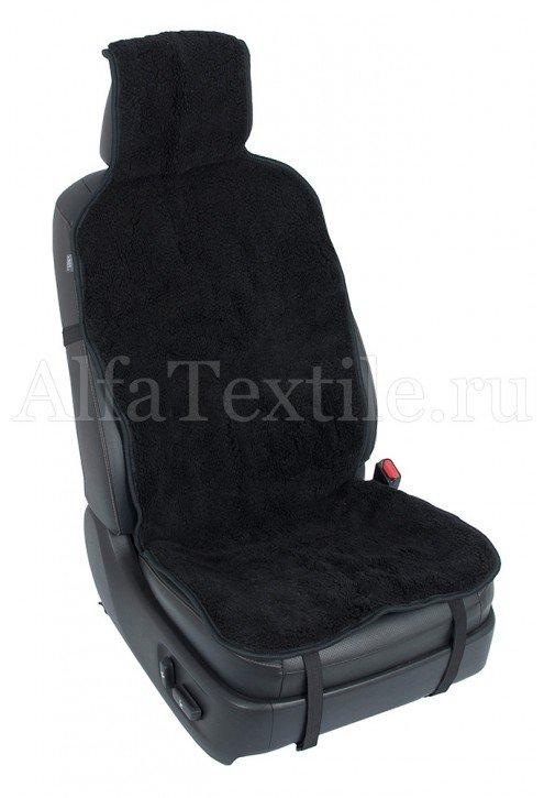 Накидка на кресло автомобиля с двойным мехом ЧЕРНАЯ