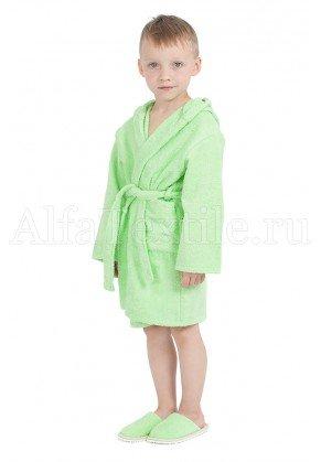 Халат махровый детский капюшон САЛАТ 34-40