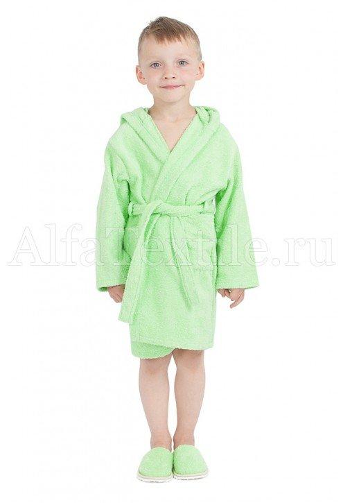 Халат махровый детский капюшон САЛАТ 26-32