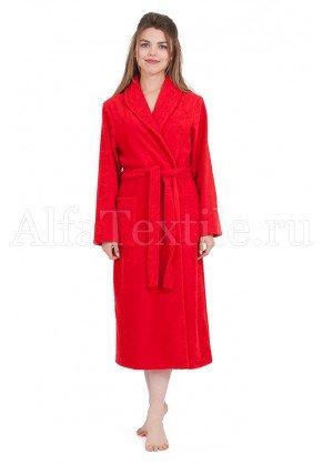 Халат махровый женский классический Красный