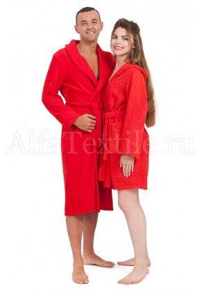 Халат махровый женский с капюшоном КРАСНЫЙ