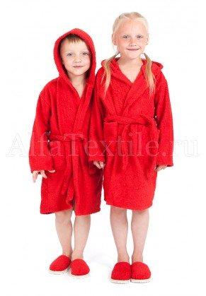 Халат махровый детский капюшон Красный 26-32
