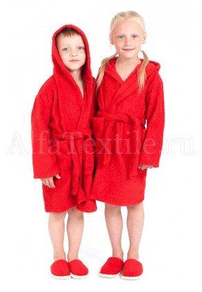 Халат махровый детский капюшон Красный 34-40