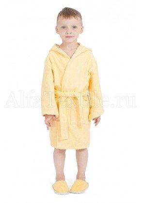 Халат махровый детский капюшон Желтый 34-40