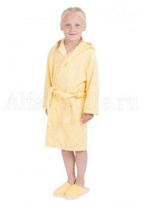 Халат махровый детский капюшон Желтый 26-32