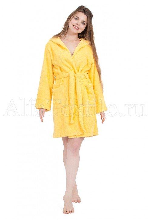 Халат махровый женский с капюшоном Желтый