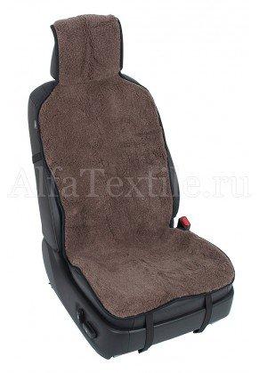Накидка на кресло автомобиля с двойным мехом КОРИЧНЕВАЯ