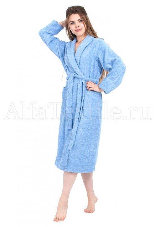 Халат махровый женский классический Голубой