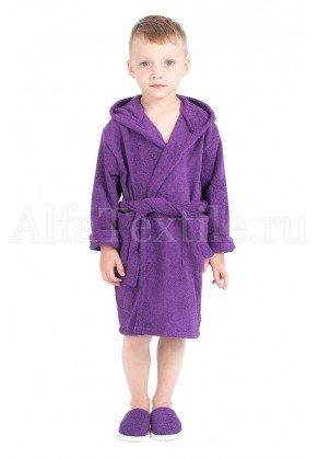 Халат махровый детский капюшон Баклажан 34-40