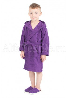 Халат махровый детский капюшон Баклажан 26-32
